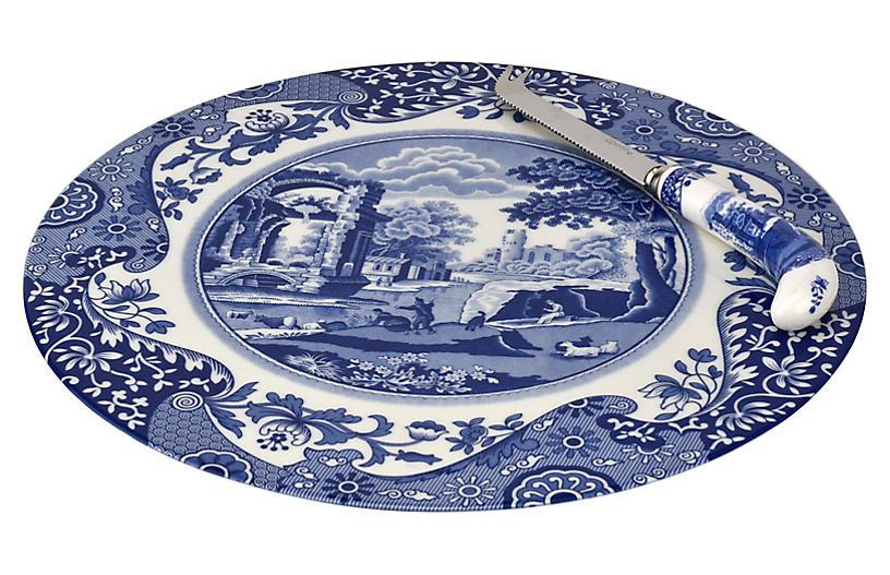 2-Pc Blue Italian Cheese Plate Set
