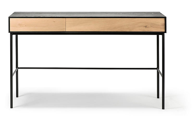 Blackbird Desk, Oak/Black