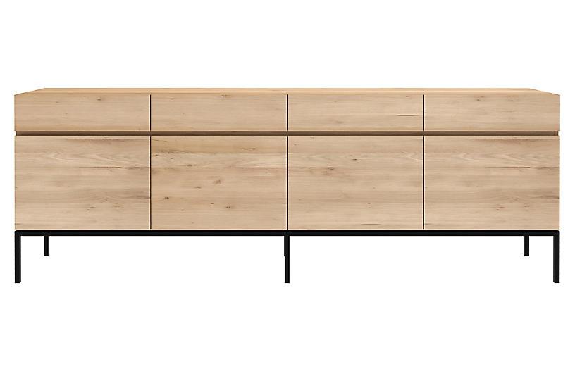 Ligna 4-Drawer Sideboard, Oak/Black