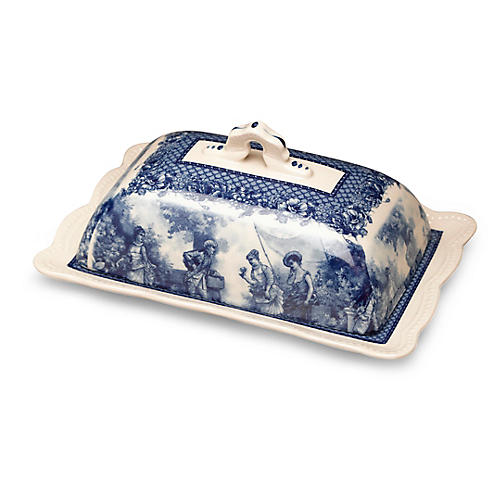 Darby Butter Dish, Blue/Ivory