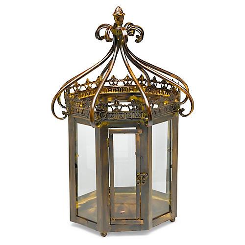 "24"" Merino Octagonal Lantern, Antiqued Brass"