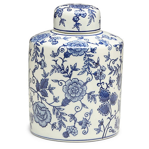"9"" Arundel Cylindrical Ginger Jar, Blue/White"