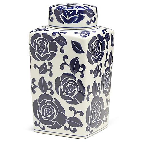 "12"" Giverny Square Ginger Jar, Blue/White"