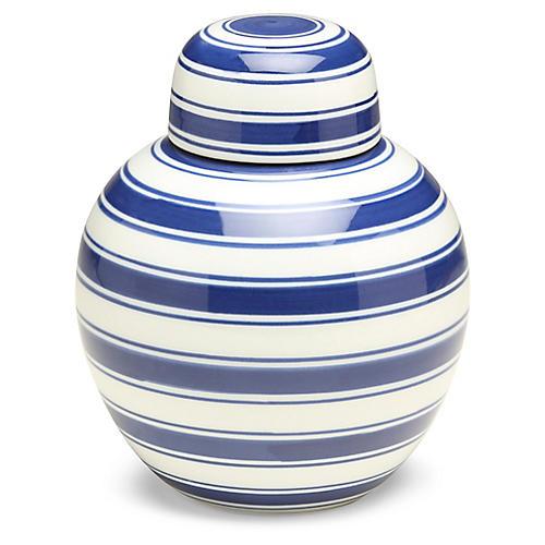 "8"" Soroa Round Ginger Jar, Blue/White"