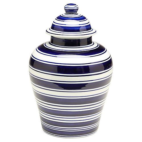 "11"" Soroa Classic Ginger Jar, Blue/White"