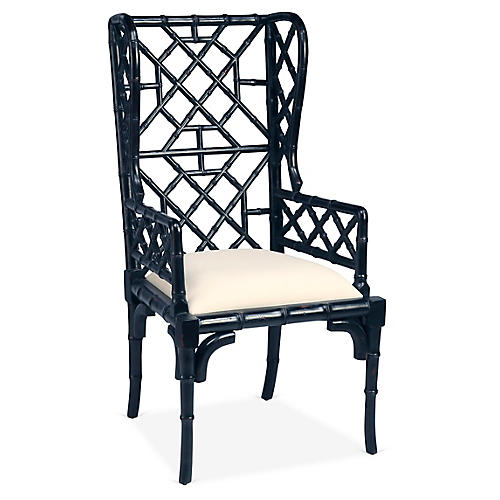 Chinoiserie Wingback Chair, Distressed Black