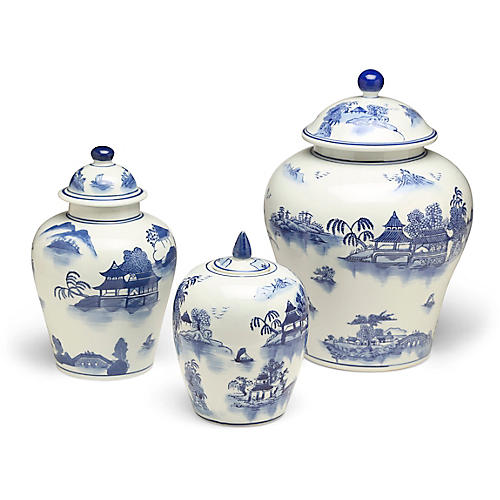 S/3 Ashford A Jar Set, Blue/White