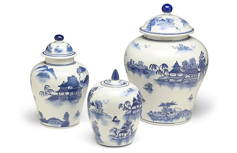 S/3 Ashford A Jar Set, Blue/White