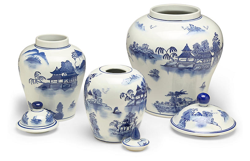 S 3 Ashford A Jar Set Blue White Decorative Jars
