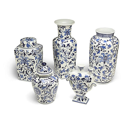 S/5 Clint B Jar Set, White/Blue