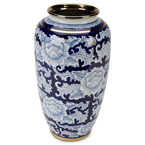 """15"""" Granada Vase, Blue/White"""