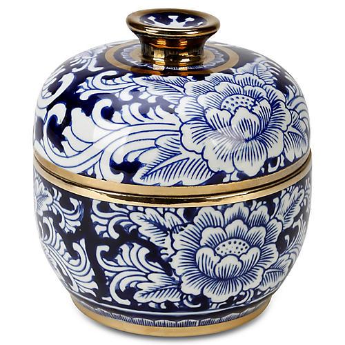 """8"""" Granada Round Jar w/ Lid, Blue/White"""