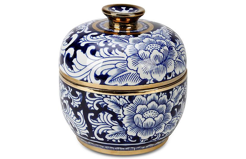 8 Granada Round Jar W Lid Blue White