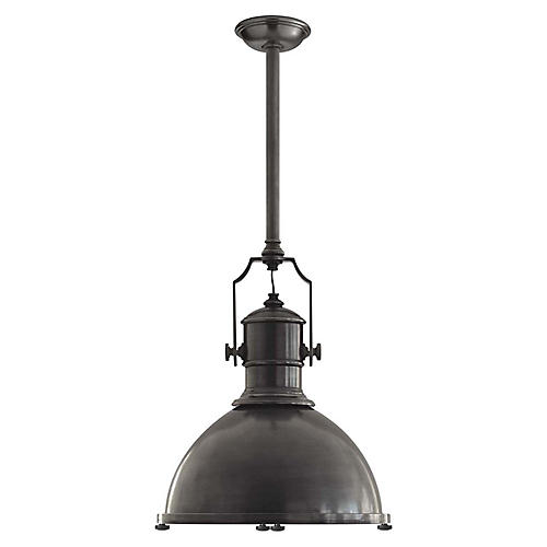 Country Industrial Large Pendant, Bronze