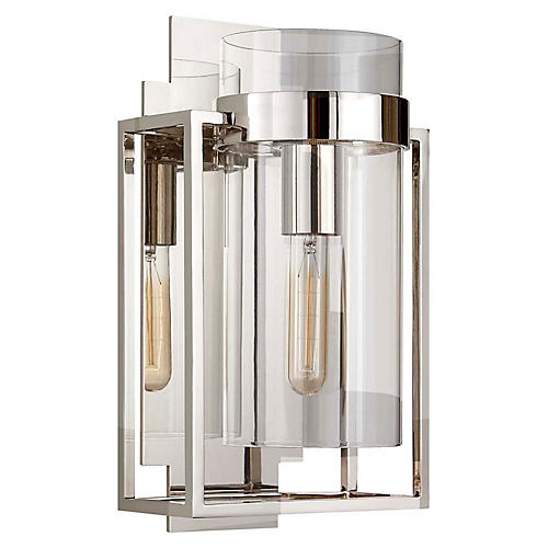 Presidio Caged Sconce, Polished Nickel