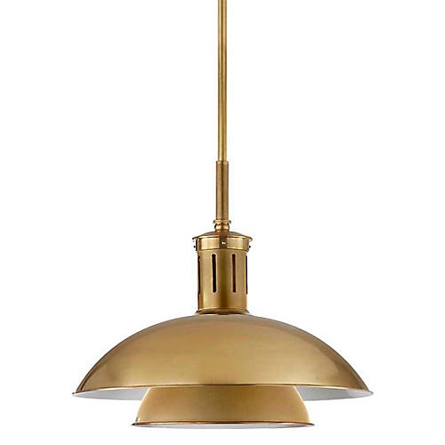 Whitman Medium Pendant, Antiqued Brass