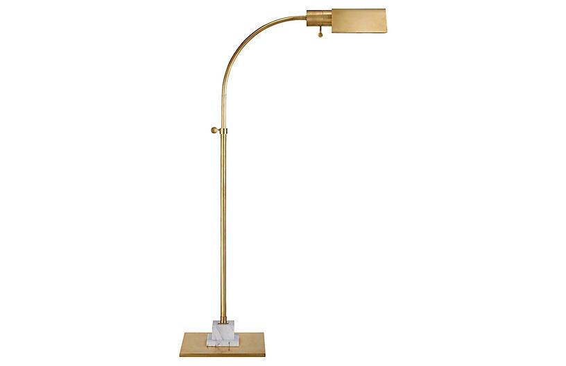 Eton Pharmacy Floor Lamp, Antiqued Brass