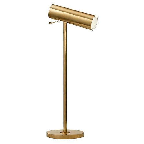 Lancelot Pivoting Desk Lamp, Antiqued Brass