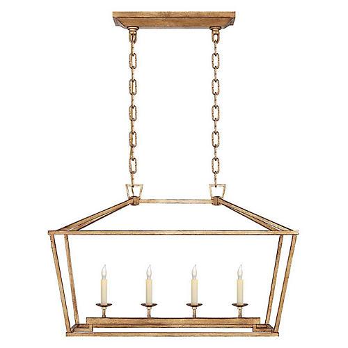Darlana Linear Lantern, Gilded Iron