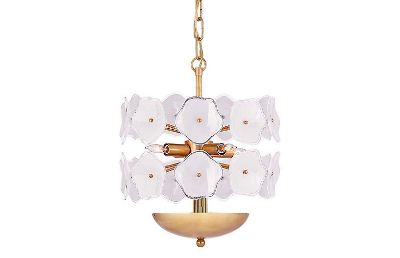 Leighton Chandelier, Cream/Soft Brass