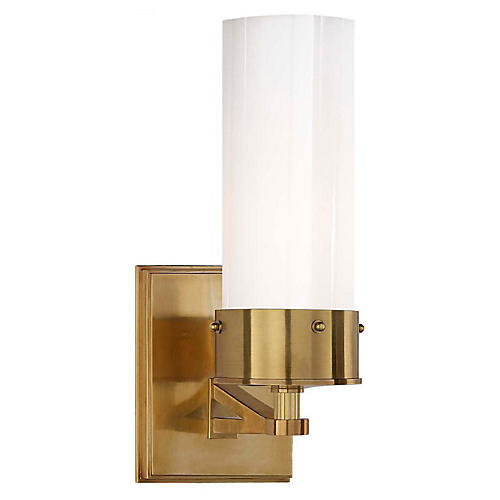 Marais Bath Sconce, Brass/White