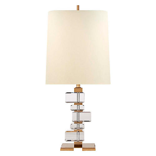 Moreau Crystal Table Lamp, Antiqued Brass