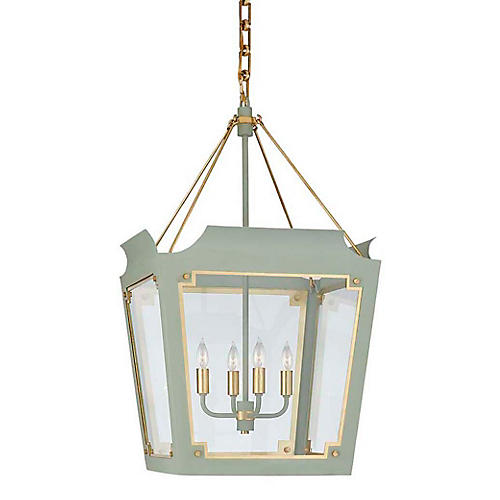 Caddo Lantern, Celadon With Gild