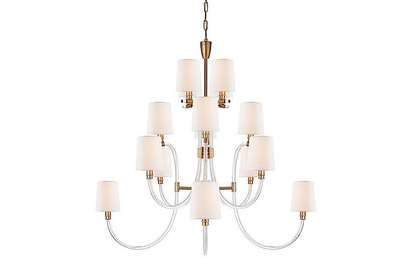 Clarice Chandelier, Crystal With Antique Brass