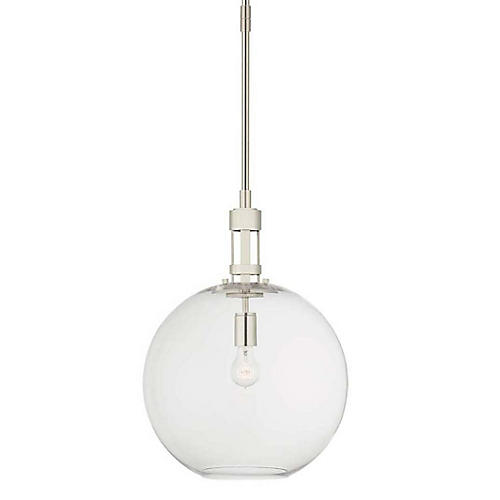 Gable Globe Pendant, Polished Nickel