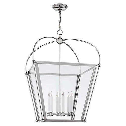 Plantation Large Lantern, Polished Nickel