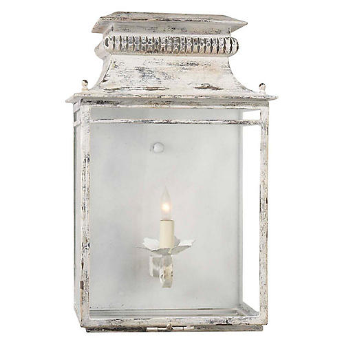 Flea Market Lantern Sconce, Old White