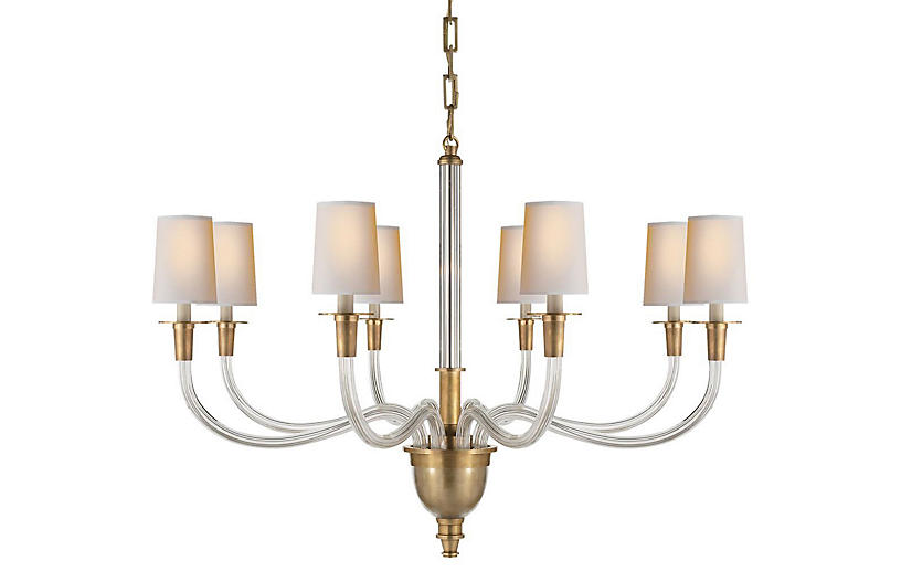 Vivian Large Chandelier, Hand-Rubbed Brass