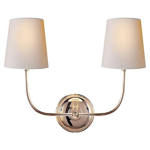 Vendome Double Sconce, Polished Nickel