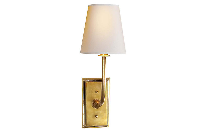 Hulton Sconce, Hand-Rubbed Antiqued Brass