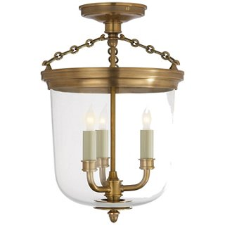 Merchant Semi-Flush Mount, Brass