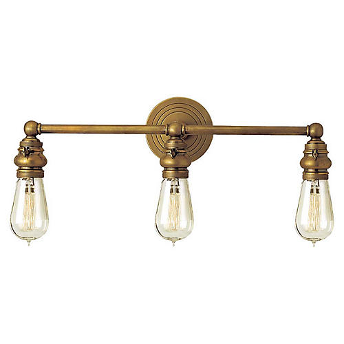 Boston 3-Light Bath Bar, Antiqued Brass