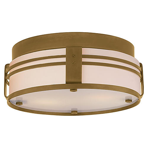 Ted Flush Mount, Antiqued Brass