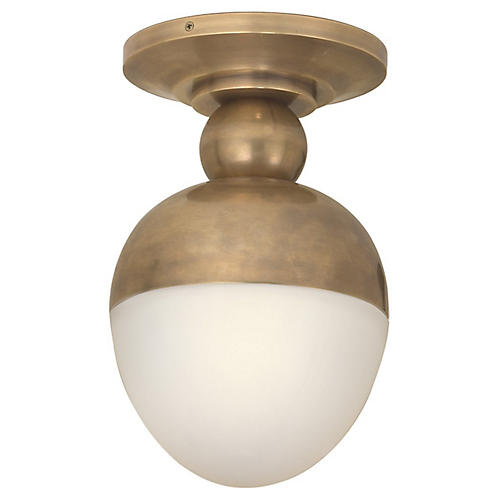 Clark Flush Mount, Hand-Rubbed Brass