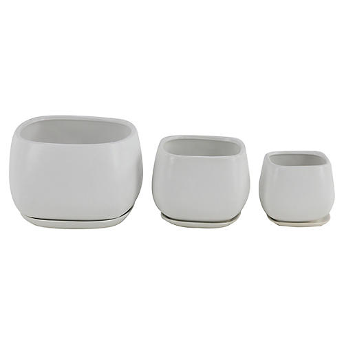 Asst. of 3 Dolores Outdoor Planters, White
