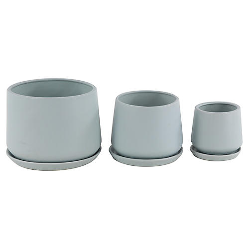 Asst. of 3 Newton Outdoor Planters, Blue-Gray