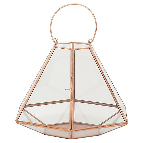 "13"" Hexagonal Wide Lantern Hurricane, Copper"