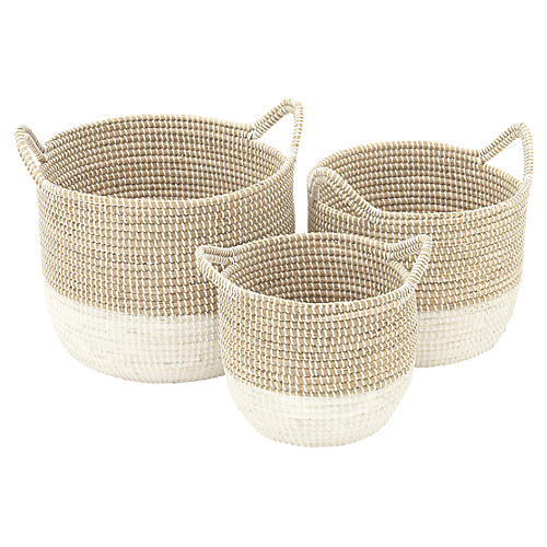 Asst. of 3 Ella Decorative Baskets, Natural/White