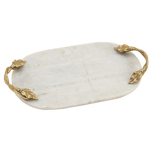 "20"" Vine Oval Marble Tray, White/Gold"