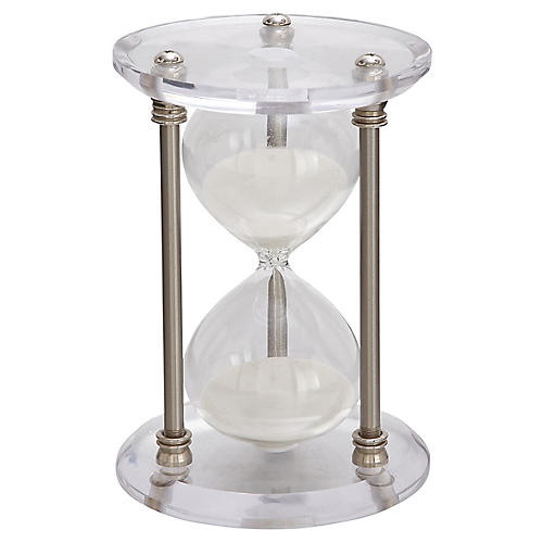 "9"" Barrow 30-Minute Hourglass, Silver/Clear"