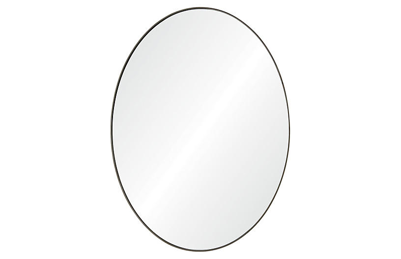 Newport Wall Mirror, Antiqued Brushed Silver