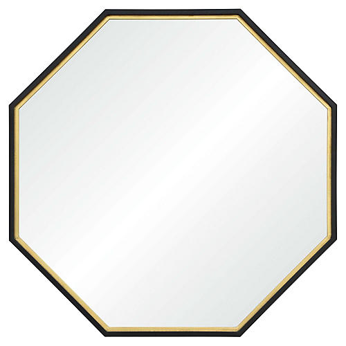Archie Octagonal Wall Mirror, Gold Leaf/Black
