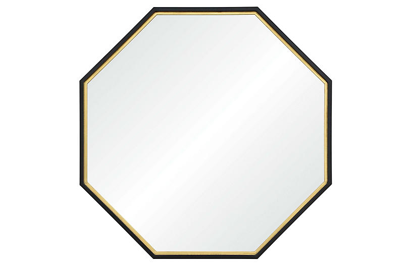 Archie Octagonal Wall Mirror, Gold Leaf/Black