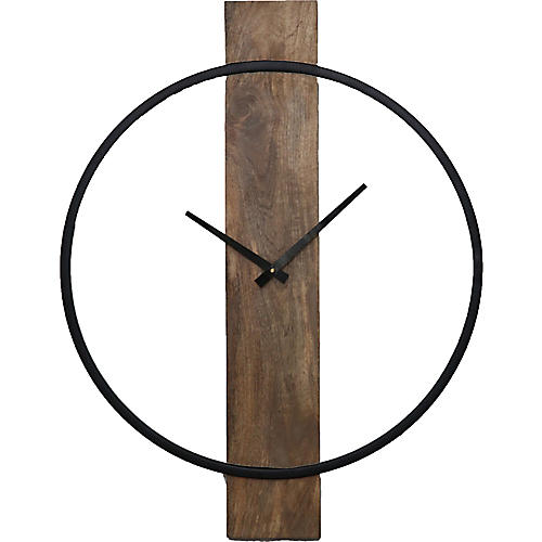 Pearl Wall Clock, Natural/Black
