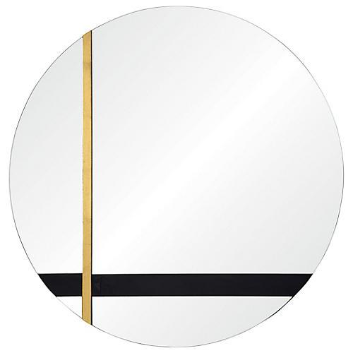 Gavin Wall Mirror, Black/Gold Leaf