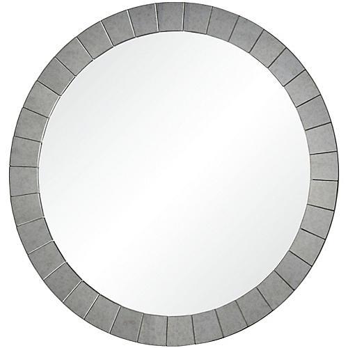Sammy Wall Mirror, Antiqued Silver